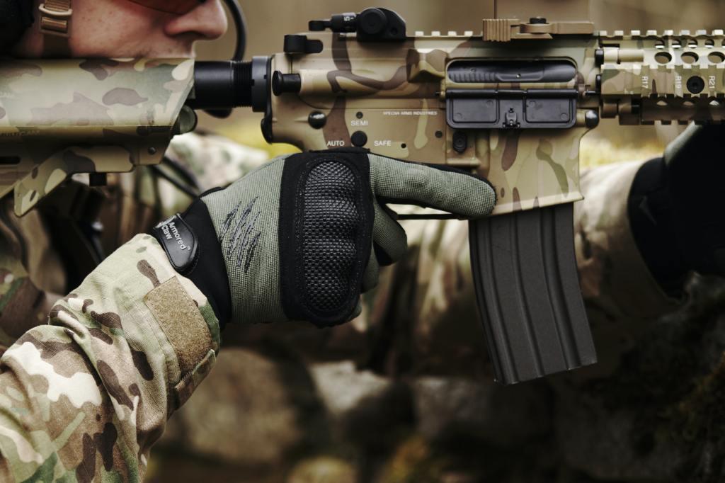 A solider with a machine gun